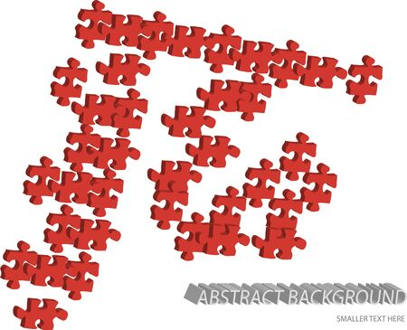 red vector 3d puzzle pieces isolated on white background