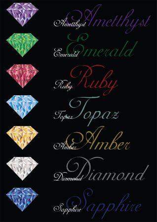 set of gem stones isolated on black background Vetores
