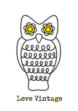 big shirt: vintage owl illustration Stock Photo