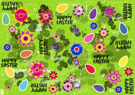 color vector spring background with flowers and easter eggs Çizim