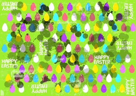 Abstract vector background with easter eggs and ink splatters isolated on light green background
