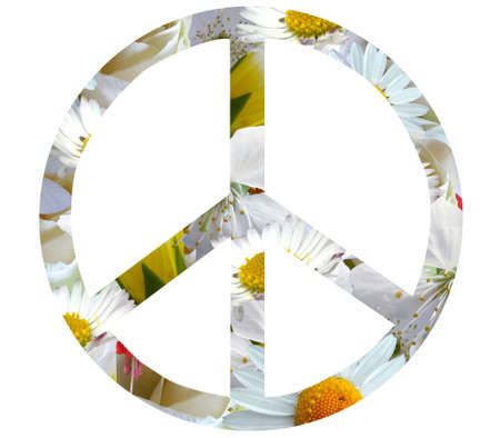 peace symbol silhouette of daisy flowers isolated on white background