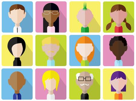 set of vector design flat faces