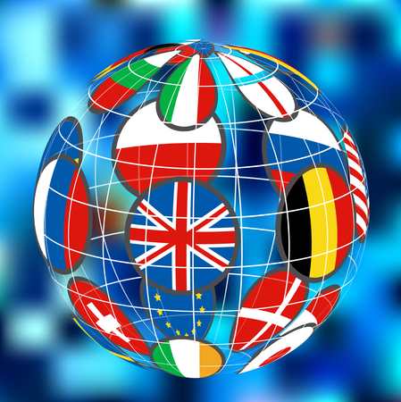 color vector 3d earth globe icon with colorful flags