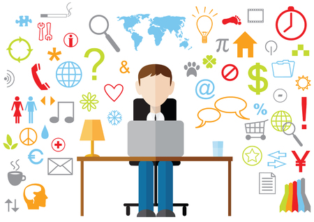 Flat design business bussines man in office with laptop and web symbols