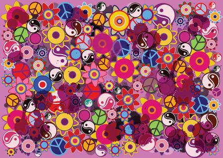 Abstracte vector hippies achtergrond met bloemen en iconen Stock Illustratie