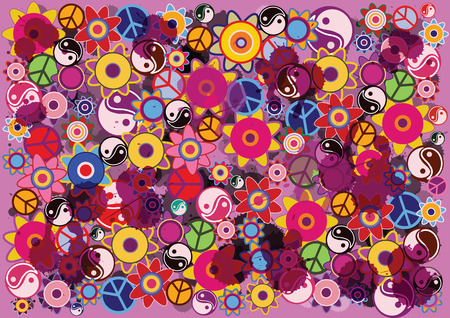 Abstract vector hippies background with flowers and icons