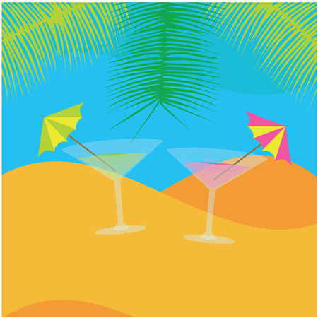 color vector hollidays illustration of two drinks on the beach