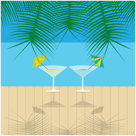 pier: Vector holidays illustration of two drinks on wooden wharf and palm leafs