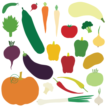 set of vector vegetables icons isolated on white background