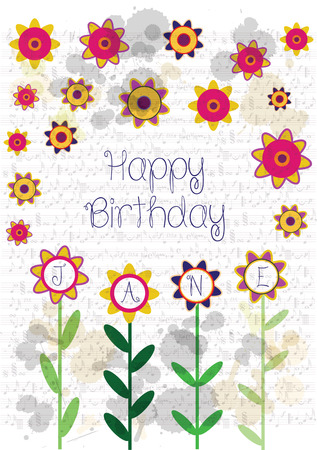 Colorful happy birthday card with flowers and name Jane Stock Vector - 101974296