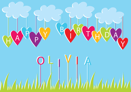 Color vector free card design with name Olivia