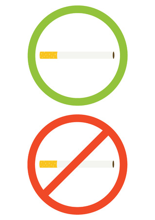 two vector icons with cigarette, smoking allowed and no smoking, simple vector illustration, flat design vector concept, two round labels, no smoking.smoking allowed.