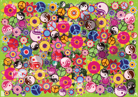 abstract vector hippies background with flowers, icons and ink blots Illustration