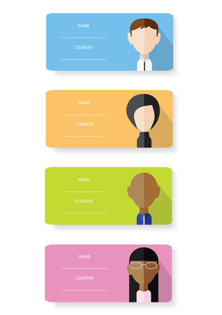 Set of vector flat design cards with portraits