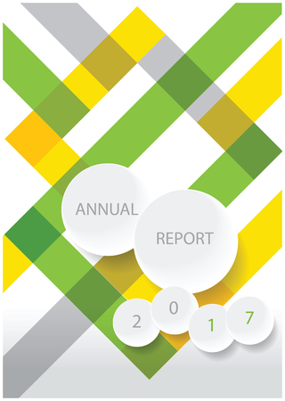 color vector annual report cover design with stripes and white paper circles with place for your text
