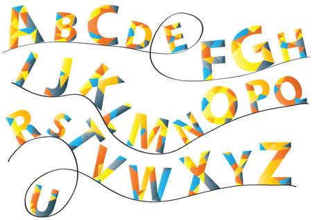 Color vector alphabet letters set on waved black string. Flat design vector alphabets illustration. Funny vector alphabet letters collection.