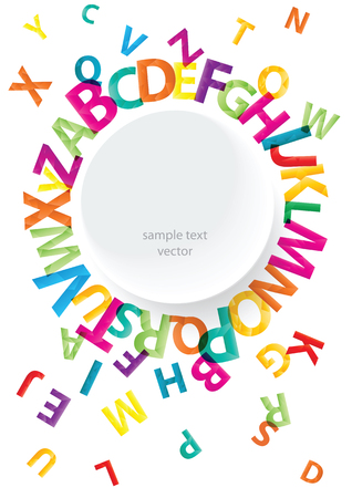 Set of bright rainbow alphabet letters and flat design frame with place for your text isolated on white background. Colorful alphabet letters collection.