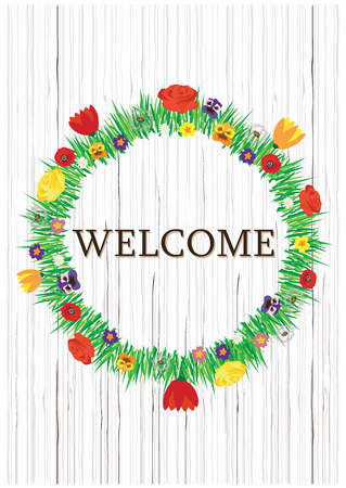 Color vector spring and summer flowers wreath with welcome notice. Flowers wreath isolated on wooden texture background.Round natural circle frame with place for your text.