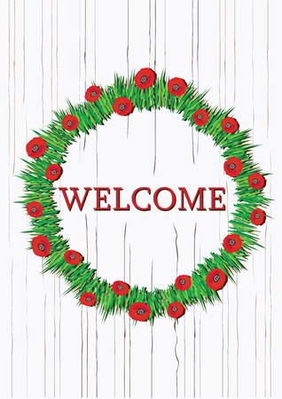 Color vector summer red poppies wreath with welcome notice. Round floral frame. Flowers wreath hanging on wooden doors.