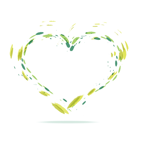Green watercolor splatters heart silhouette. Bright green ink heart icon isolated on white background. Illustration