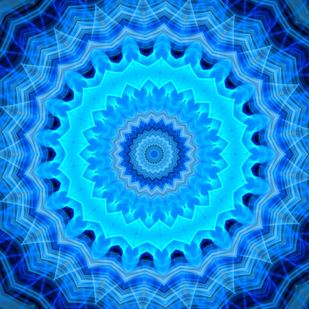 Abstract blue flames fractal mandala background