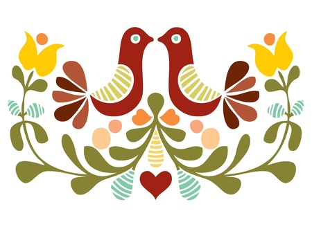 folk art: Folk art bird vector Illustration