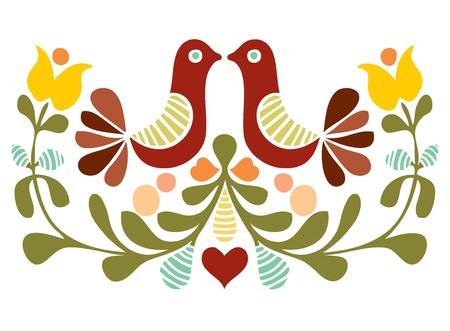 Folk art bird vector