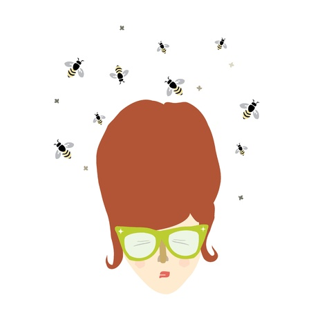Vector illustration of a retro woman with a beehive hairdo