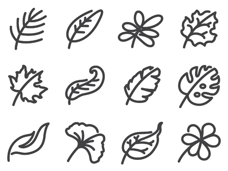 Leaves icon set. Calligraphy.