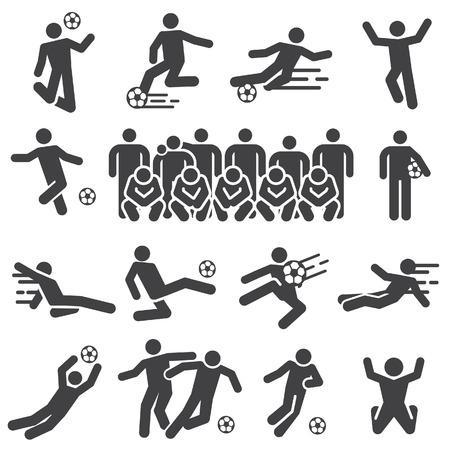 Football de silhouette, icône de joueurs de football. Vecteur de silhouette.