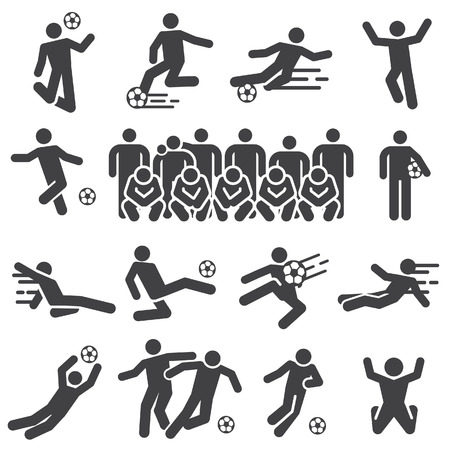 Silhouette soccer,football players icon. Silhouette vector.  イラスト・ベクター素材