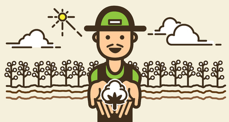 A farmer shows young plant in hands front of organic farm with smiling and happy icon.