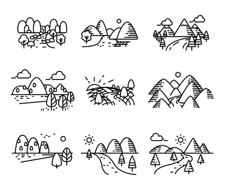 Landscape sea and river icons. Sillhouette single line style. Illustration