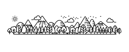 Landscape panorama view of natural, environment. Mountain and forest. 向量圖像