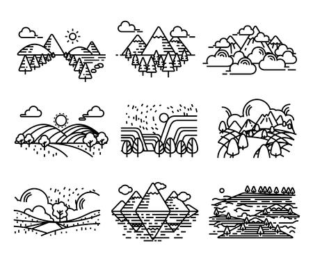Landscape icons. Sillhouette single line style.