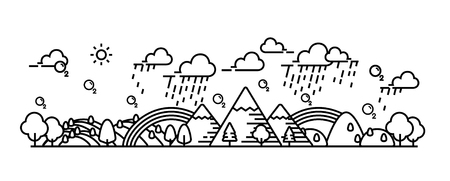 Landscape panorama view of natural, environment. Mountain and forest. Illustration