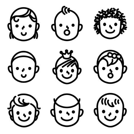 Kid,baby face avatar icon