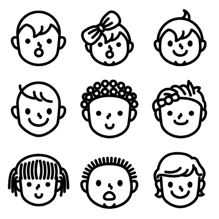 Baby boy and girl face icon.