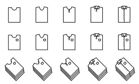 T shirt fold icon set 일러스트