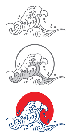 Big wave ocean vector icon. Thai. Japan. Outline and fill color with red and blue.