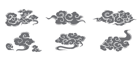 Cloud vector set. Chinese, Thai, Japanese styles. Çizim
