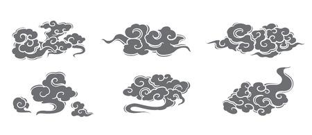Ensemble de vecteurs de nuage. Styles chinois, thaï, japonais.