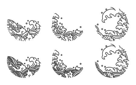 Plantilla de logotipo de línea de onda de agua.Japonés.Tailandés. Logos