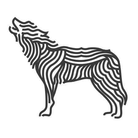 Wolf symbol art style.Line vector illustrate.