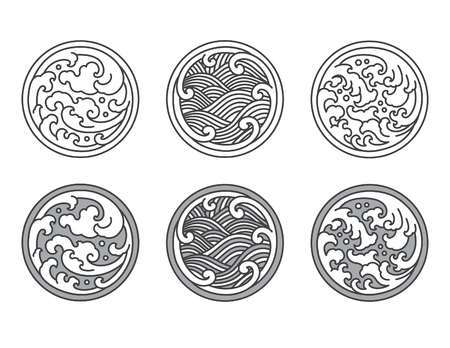 Water wave line logo template.Japanese.Thai.Chinese.
