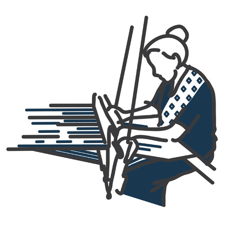 Woman hand weaving illustrate. Weaving logo.