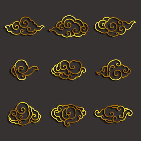 Set of golden chinese clouds single line stroke vector. Иллюстрация