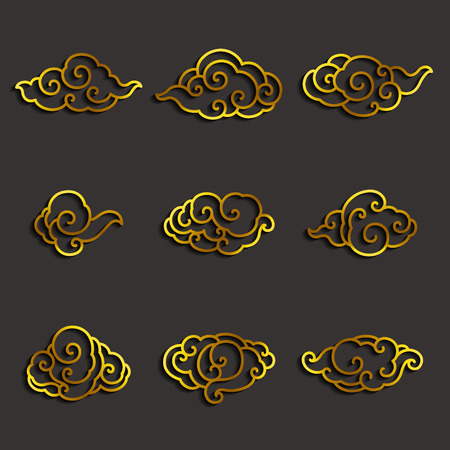 Set of golden chinese clouds single line stroke vector. Illustration