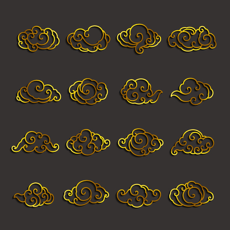 Set of golden chinese clouds single line stroke vector. 向量圖像